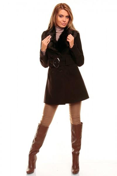 Fotogalerie  Dámský kabát s kožešinou Perfect Mode hnědý ... 0c886bd9b39