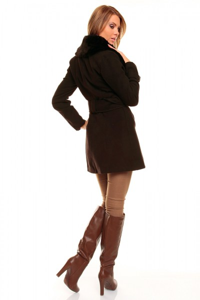 ... Fotogalerie  Dámský kabát s kožešinou Perfect Mode hnědý dd0a78fc986