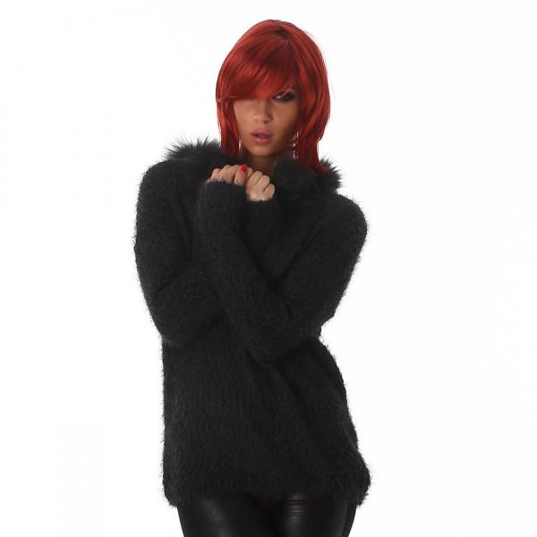 ... Fotogalerie  Dámský chlupatý svetr s kožešinou Perfect Mode černý 1cb1cc047a7