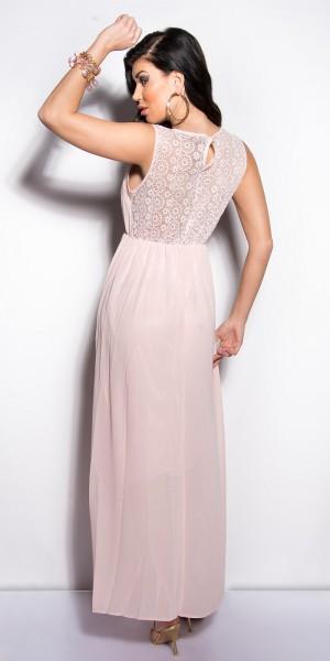 Fotogalerie  Sexy dámské dlouhé šaty s krajkou Paola di Ressi světle růžové  ... db84096d7b
