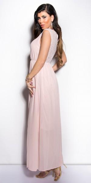 ... Fotogalerie  Sexy dámské dlouhé šaty s krajkou Paola di Ressi světle  růžové ... 83cc1f9d6b