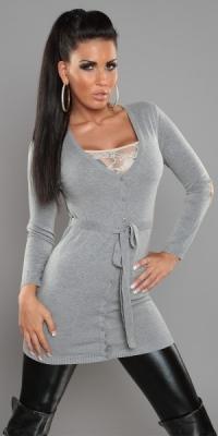 0979d721cb5 Dámský svetr s páskem šedý