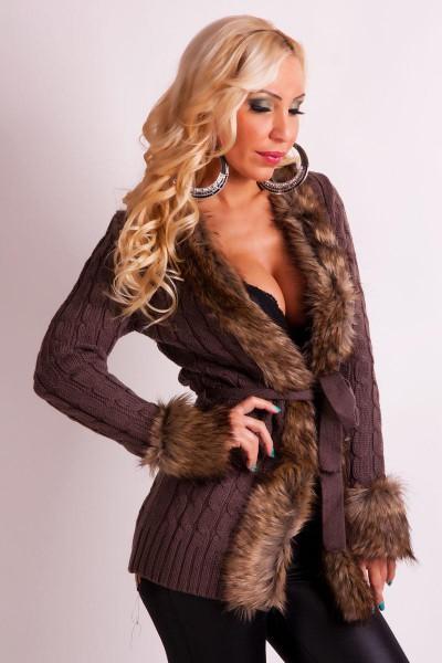 9d7f4bdc6e8 Fotogalerie  Elegantní dámský pletený svetr Ami Style tmavě hnědý