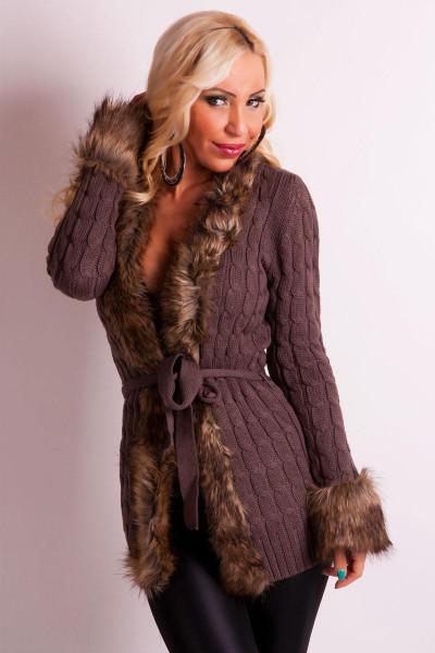 cc734061dd0 ... Fotogalerie  Elegantní dámský pletený svetr Ami Style tmavě hnědý ...