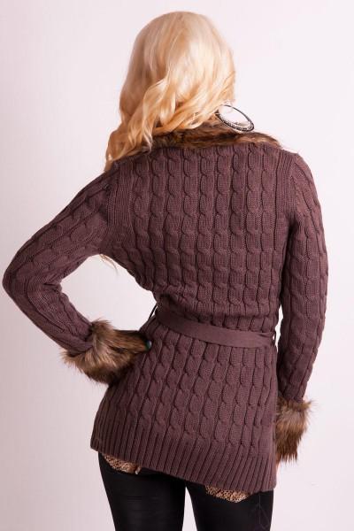 7744c9d6e1a ... Fotogalerie  Elegantní dámský pletený svetr Ami Style tmavě hnědý