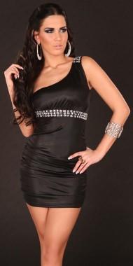 Sexy šaty na jedno rameno černé
