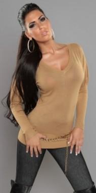 Dámský svetr karamelový