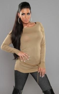 Elegantní dámský svetr karamelový