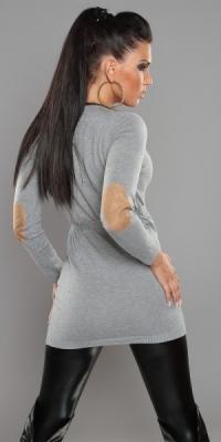 4e08e7ba056 ... Fotogalerie  Dámský svetr s páskem šedý ...