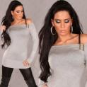 Dámský svetr se sponou šedý