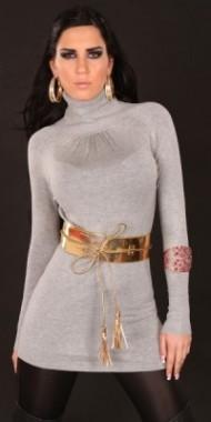 Dámské šaty s páskem šedé