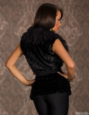 Dámská vesta černá s páskem