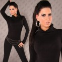 Dámský pulover s výstřihem černý