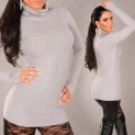 Dámský svetr s rolákem šedý