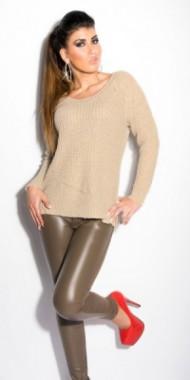 Sexy pletený svetr béžový