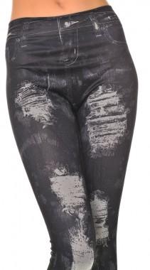 Sexy legíny s jeans trhaným potiskem Ami Style černé