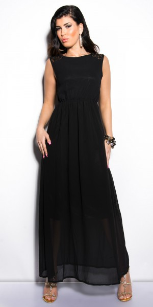 5e1d99148de ... Fotogalerie  Sexy dámské dlouhé šaty s krajkou Paola di Ressi černé ...