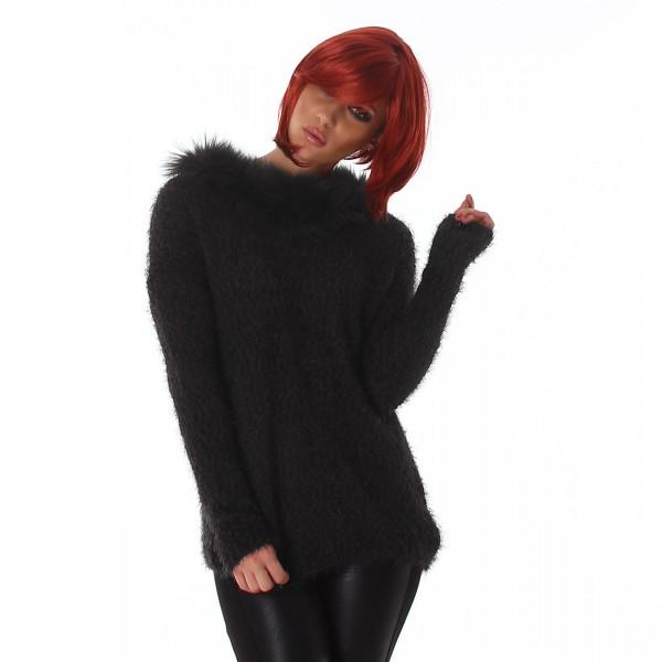 Dámský chlupatý svetr s kožešinou Perfect Mode černý eb0f9bacbf6