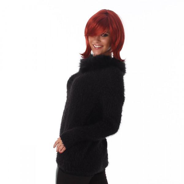 Fotogalerie  Dámský chlupatý svetr s kožešinou Perfect Mode černý ... 30424541348