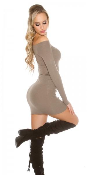 169ee0345cf ... Fotogalerie  Sexy šaty s lodičkovým výstřihem Paola di Ressi cappucino  ...