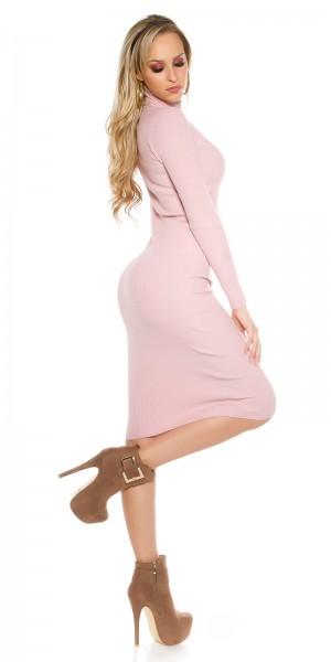 aa3552c24e3 ... Fotogalerie  Sexy delší šaty s rolákem Paola di Ressi růžové ...