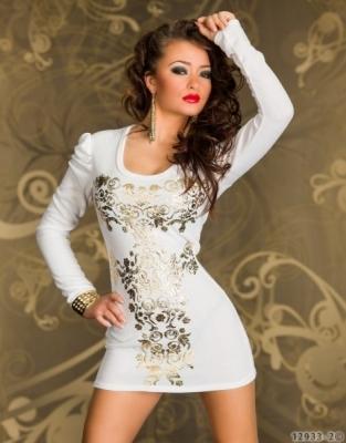 f6a0c4112f6b Dámské sexy mini šaty bílé se zlatým vzorem
